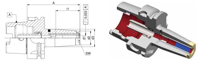 Diebold 收缩夹头HSK-A40