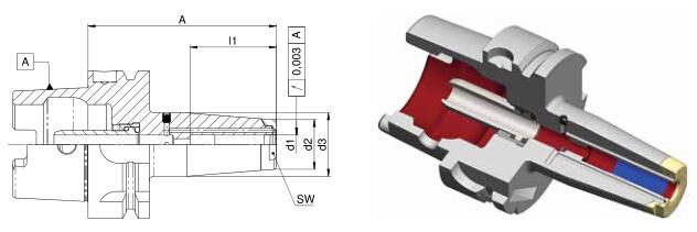 Diebold收缩夹头HSK-A50 MMS